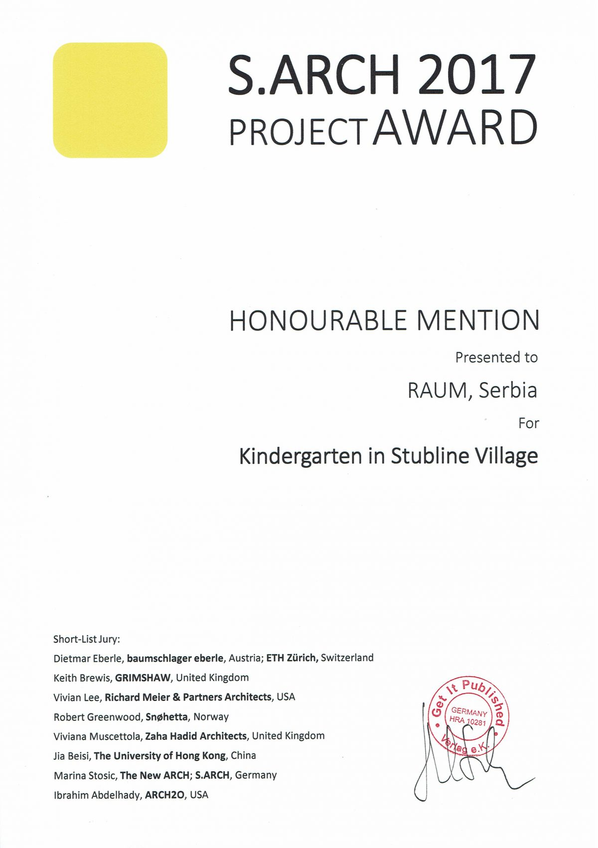 raum received a honorable mention in hong kong
