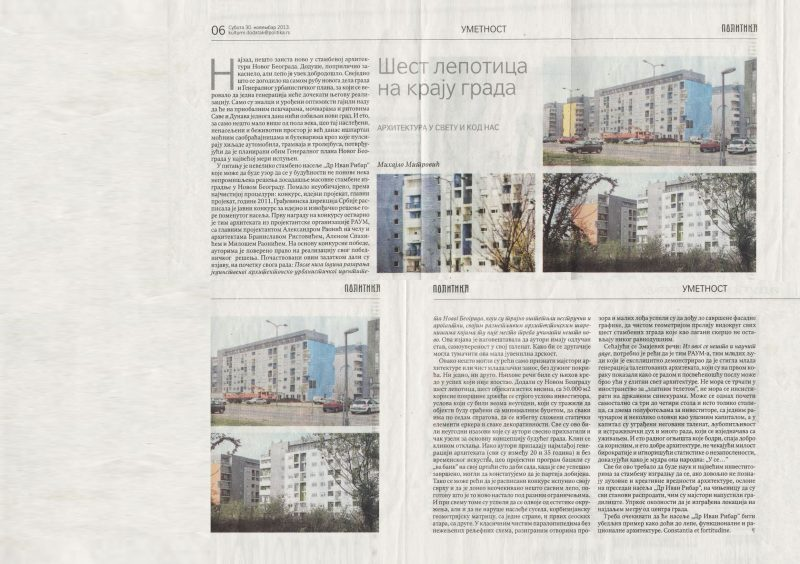 Mihajlo Mitrovic on block 72 housing in Politika